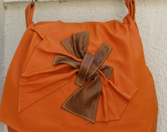 Orange Tangerine and Tan Leather Hobo Handbag with Scrunched and Sculpted Leather Accent