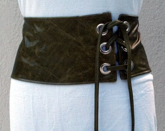 Green Distressed Leather Obi Cinched Waist Belt with Laced Closure OOAK
