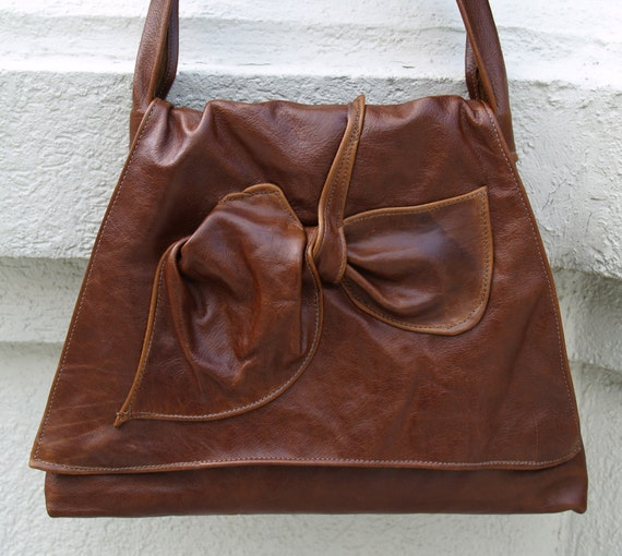 Brown Distressed Leather Hobo Handbag - The Trapezoid