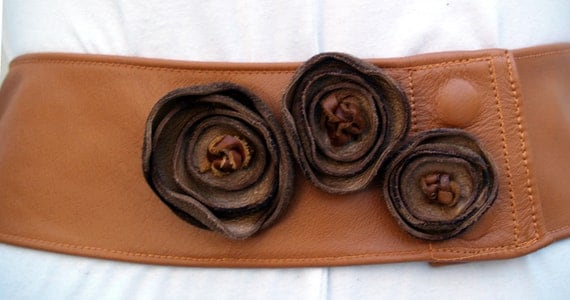 Tan Camel Caramel Leather Belt with Accent Golden Flowers