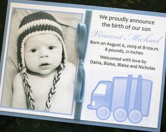 Baby Boy Truck Birth Announcement