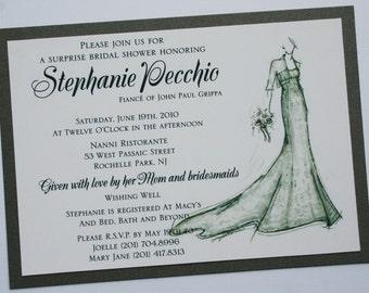 Bridal Shower Invitation with Bride Sketch