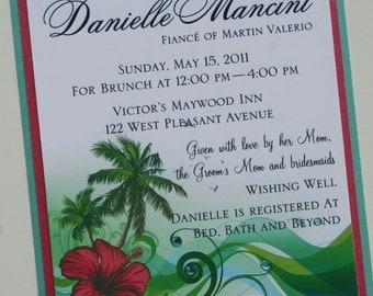 Hawaiian Islands Hibiscus Bridal Shower Invitation