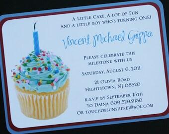 Blue Cupcake 1st Birthday Invitation