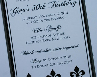 Black and White Elegance Fleur de Lis Invitation