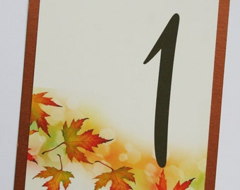 Falling Leaves Table Number Cards