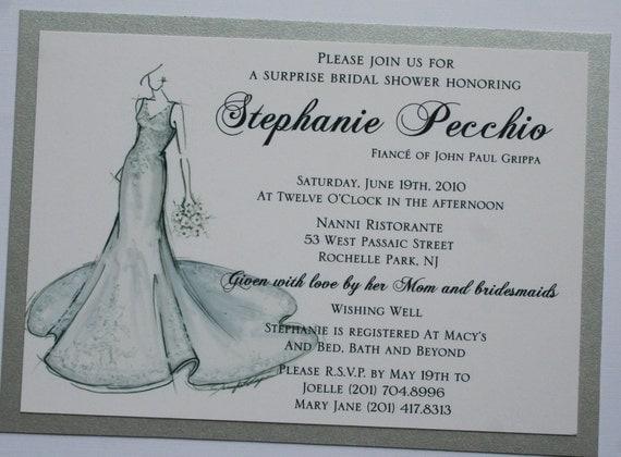 Bridal Shower Invitation with Sketch of Bride - 2