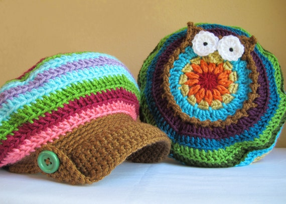 Crochet Pattern - B HOO UR Hat - a colorful slouch owl hat with visor and buttons in 5 sizes (Toddler - Adult L)