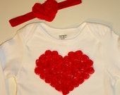 FREE SHIPPING... Valentines Day Chiffon heart onesie AND baby headband, infant, toddler 3m, 6m, 9m,12m,18,24m EtsyXo