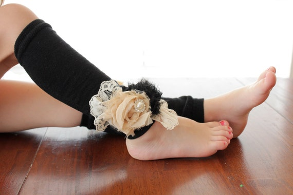 Shabby Chic Rosettes with Pearls & Lace Leg Warmers