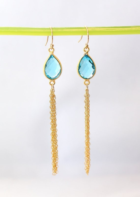 22k Gold Vermeil Bezel Set Blue Topaz Chain Earrings - Bridal Earrings - Graduation Gift