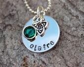 Little Girls Hand Stamped Irish Necklace - Irish Necklace - Little girls Heart Necklace