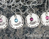 Hand Stamped Teacher's Pendant with Swarovski crystal birthstone