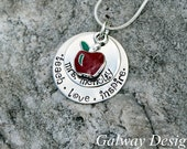 Hand Stamped Teacher Pendant with red apple charm