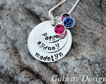 3 disc STERLING SILVER hand stamped mothers necklace