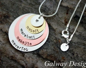 5 Disc Stacked Mixed Metal Hand Stamped Necklace