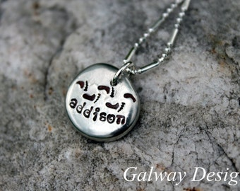 NEW BABY - Hand Stamped Pewter Pebble Necklace