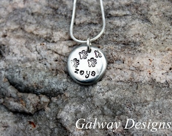 Pewter PET Pebble - Hand Stamped