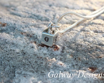NEW--------Dainty Solid Sterling Silver Cube--------Hand Stamped
