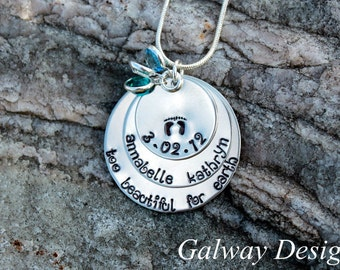 Pregnancy and infant loss - Hand Stamped  Necklace
