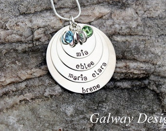 4 disc hand stamped mothers necklace
