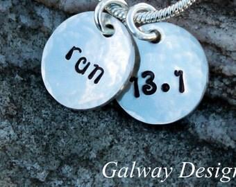 Hand Stamped Runner's Necklace - maraton necklace - half marathon necklace - runners jewelry - running necklace - Marathon Necklace