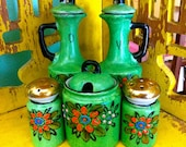 Vintage Hand Painted Vinegar and Oil  Salt and Pepper Kitchen Canisters