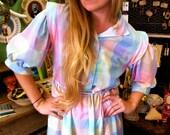 Rainbow Pastel Plaid Vintage Button-up Dress