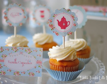 Blue Floral Shabby Chic Tea Party Cupcake Toppers