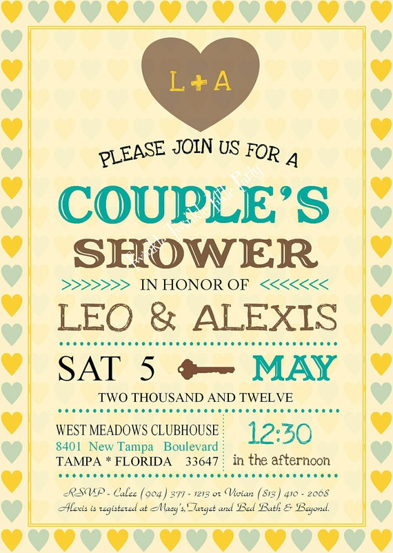 Vintage Wedding Shower, Couples Shower Jack and Jill Invitation