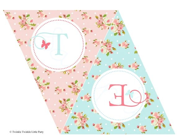 Shabby Chic Floral Tea Party Collection Custom Banner