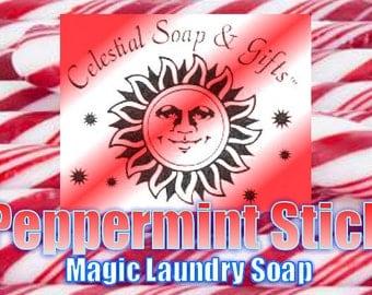 Peppermint Stick Natural VEGAN Laundry Soap Powder Bag. - 40-80 LOADS Gross Wt. 44 oz.