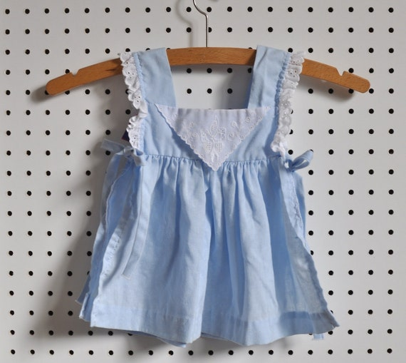 Vintage Blue Eyelet Lace Frock Dress with Bloomers (2T)