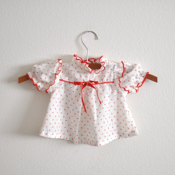 Vintage Red Floral Calico Dress (newborn)