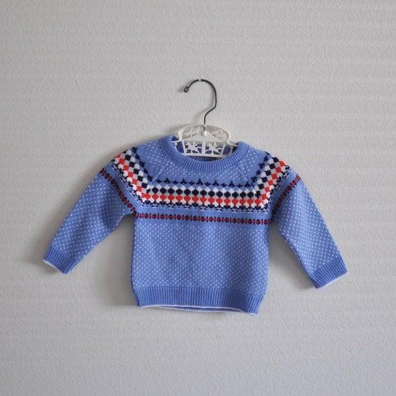 Vintage Blue Pattern Sweater (9-12 months)