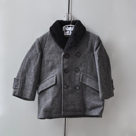 Vintage Gray and Black Wool Coat (18 month - 2T)