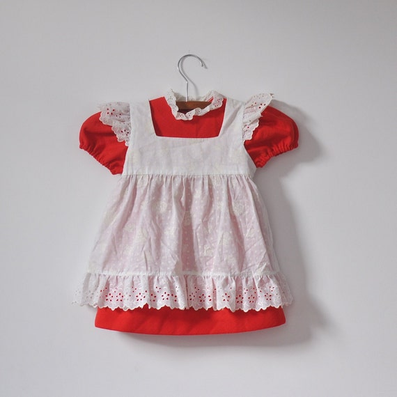 Vintage Red Dress with Pinafore 2 PIECE SET (18 months - 2T)