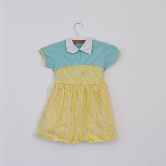 Vintage Yellow and Teal 50's Dress (girls size 6)