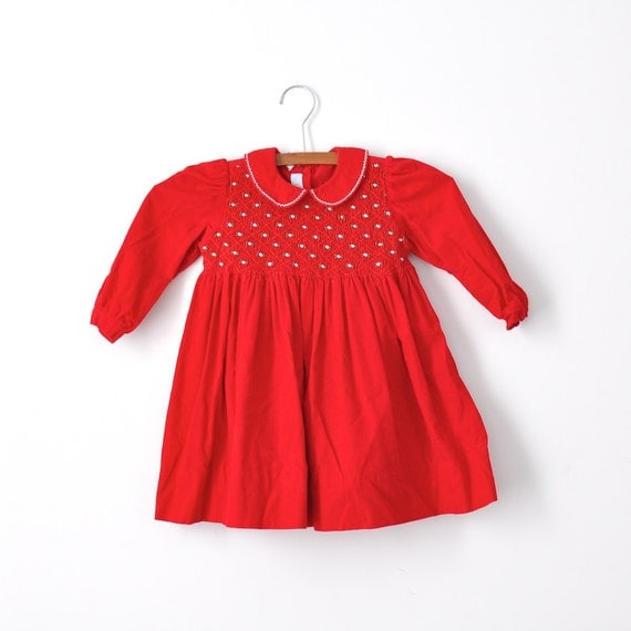 Vintage Red Corduroy Smocked Dress (2T)