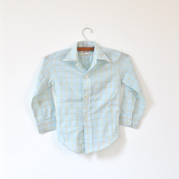 Vintage 60's Blue and Yellow Button Up Dress Shirt (boys 7-8)