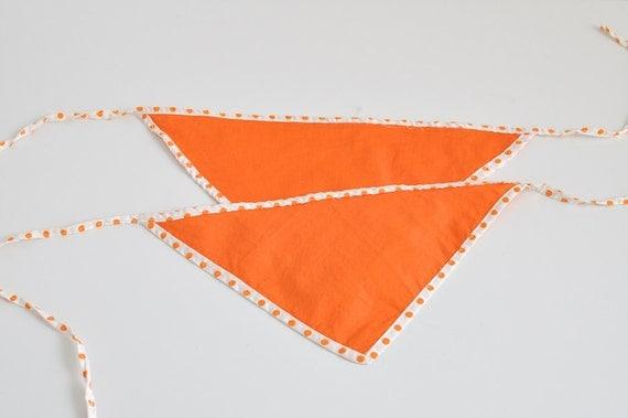 Vintage Orange Polka Dot Triangle Baby Bibs - Set of Two