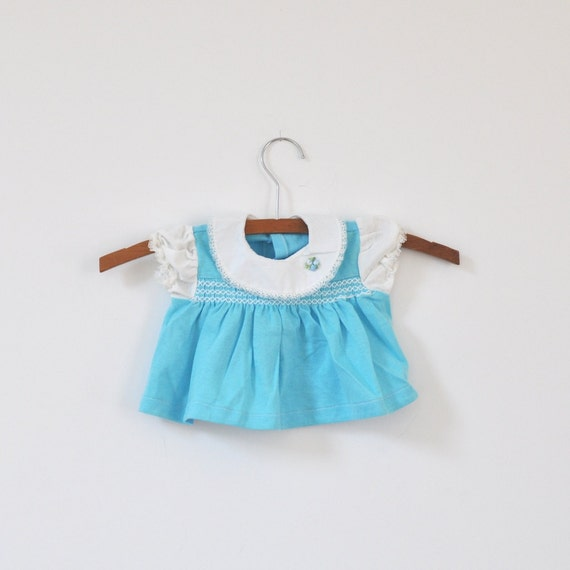 Vintage Blue Knit Dress with Rounded Collar (newborn)