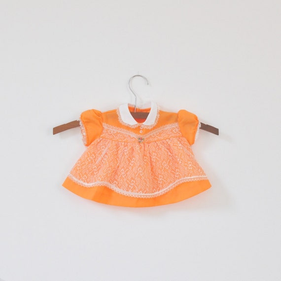 Vintage Neon Orange Lace Dress with Bloomers (0-3 months)