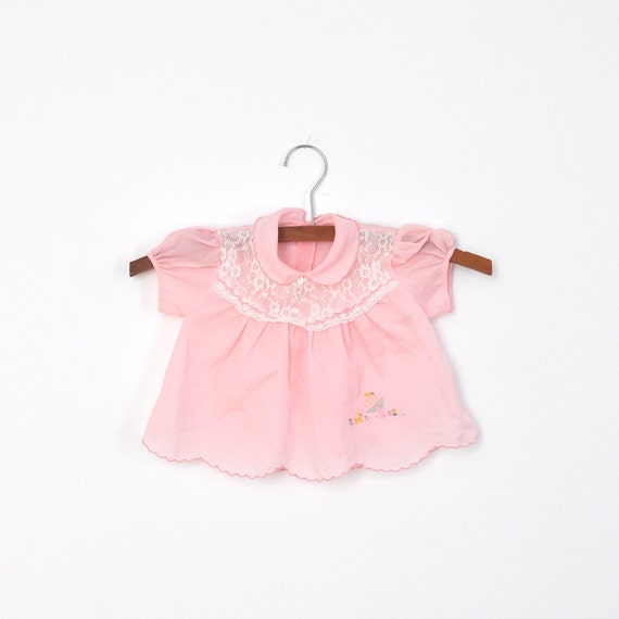 Vintage Nylon Pink Scalloped Mushroom Dress with Bloomers (9 months)