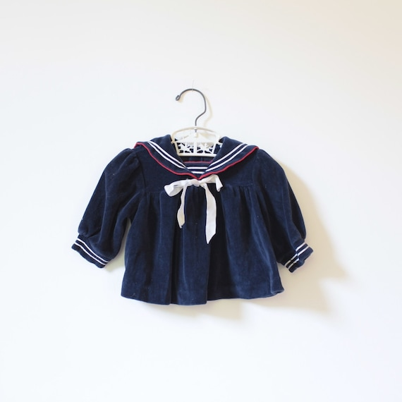 Vintage Nautical Velour Sailor Dress Top (3 months)