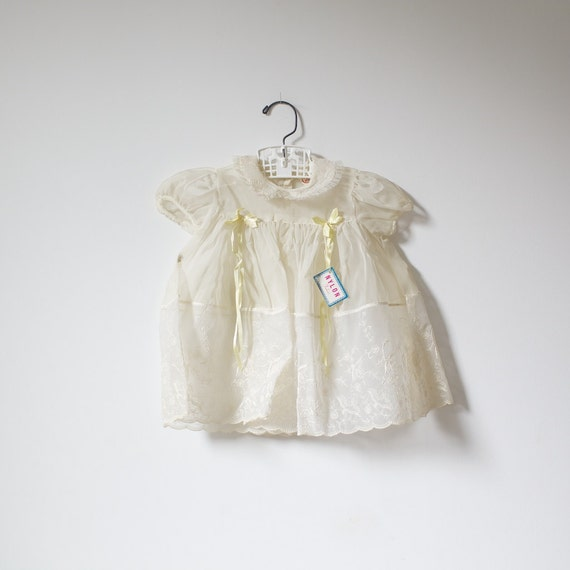 Vintage NEW OLD STOCK Embroidered Sheer 50's Dress (9-12 months)