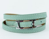 Leather bracelet, Mint Green leather  wrap bracelet wristband (L03-7)