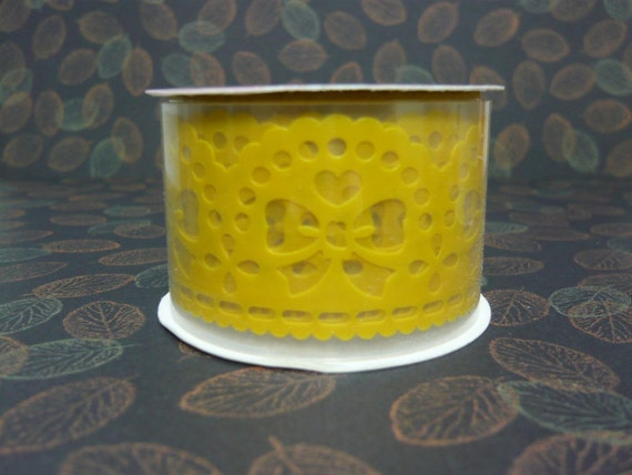 Lace Deco Sticker Tape (large - yellow ribbon)