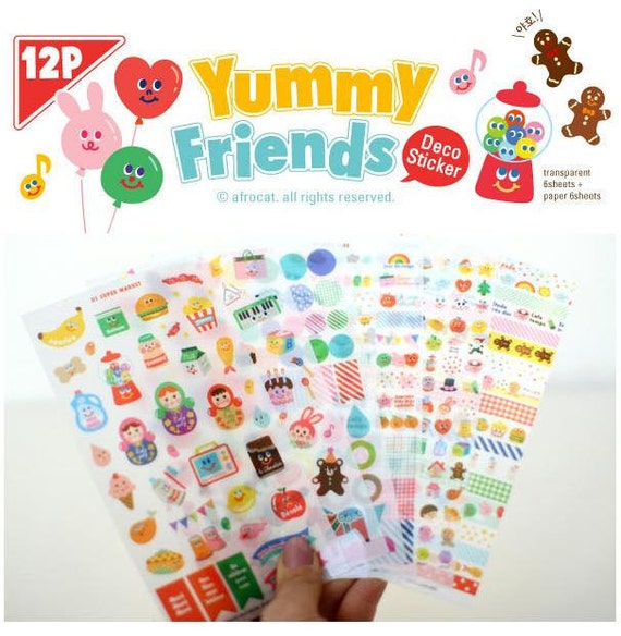 Deco Sticker - Yummy Friends (12 sheets)