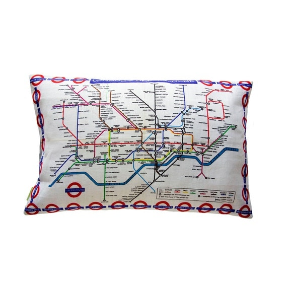 London Underground Map Cushion Pillow Metro Subway Tourist